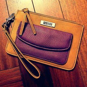 Kenneth Cole REACTION Khaki&Purple Wristlet/Wallet